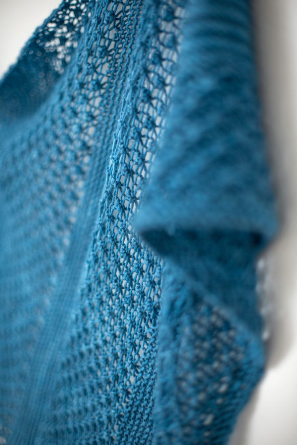 Noble Blue shawl pattern from Woolenberry